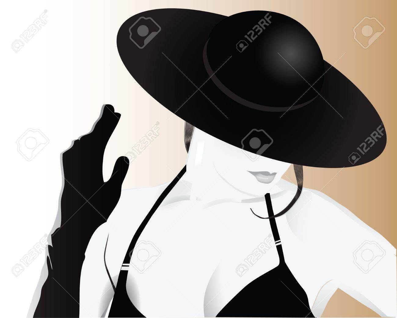 Stylish woman in a hat - 15277330