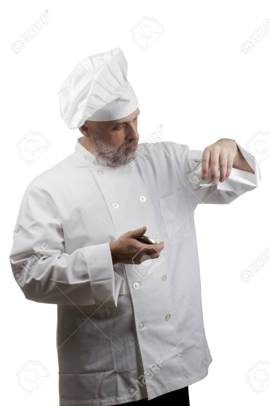 Portrait of a caucasian chef in his uniform on a white background. Stock Photo - 15352054