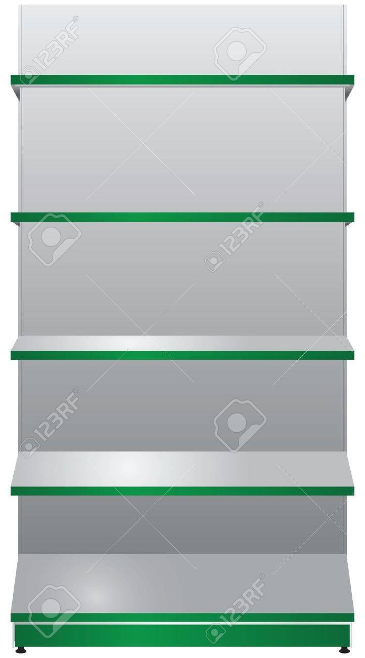 présentoir de magasin avec des étagères suspendues clip art libres