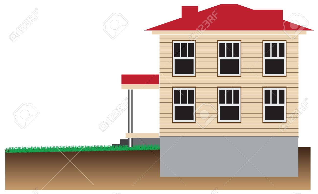 Residential house with a basement. Schematic representation Stock Vector - 15758561