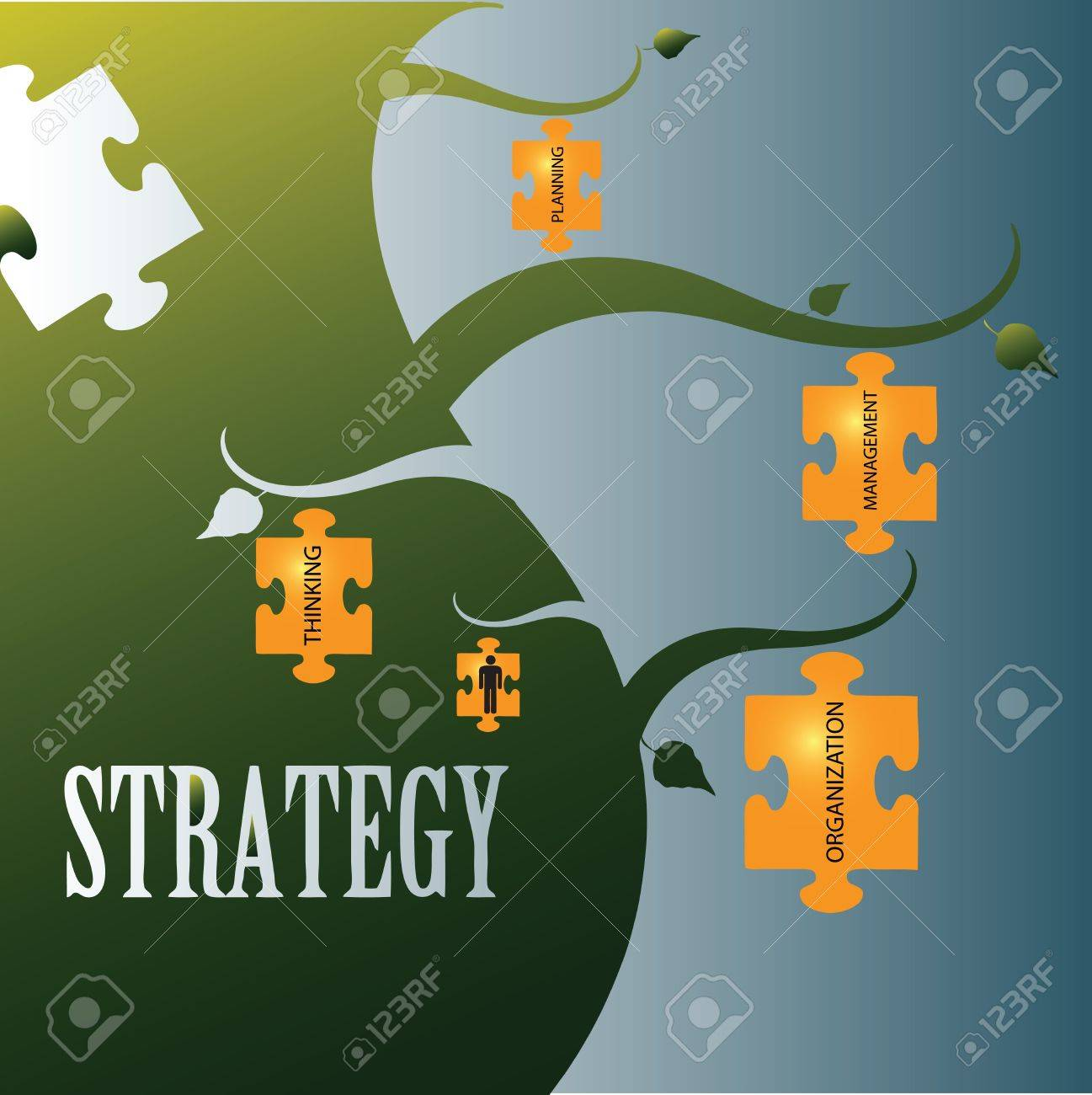 Vector illustration on the topic of strategy with related words in jigsaw puzzles. Stock Vector - 16060074