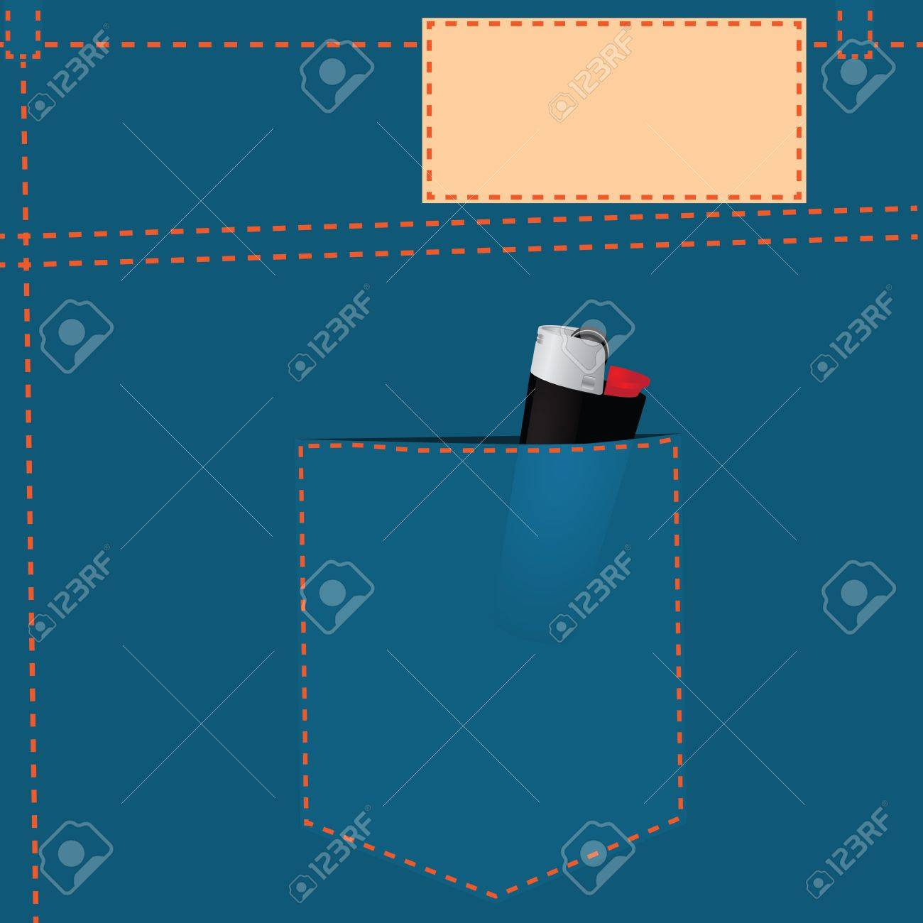 Gas lighter in the back pocket of jeans. Stock Vector - 16244386