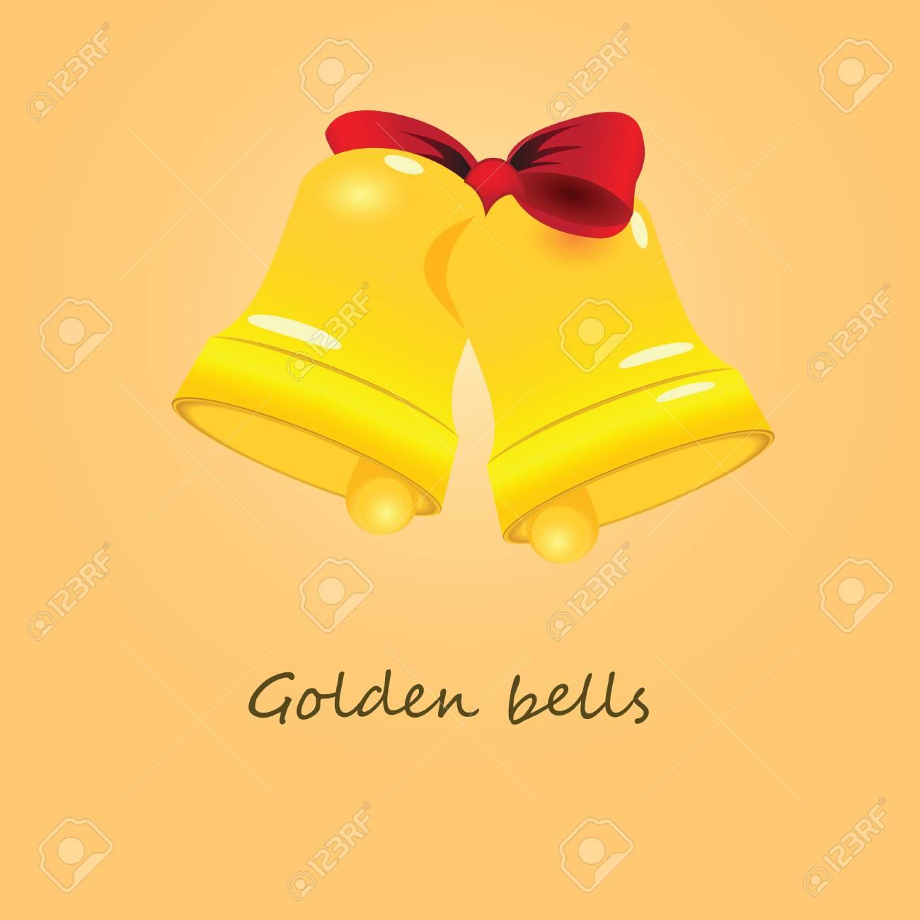 Festive golden bells related ribbons.  illustration. Stock Vector - 16428116