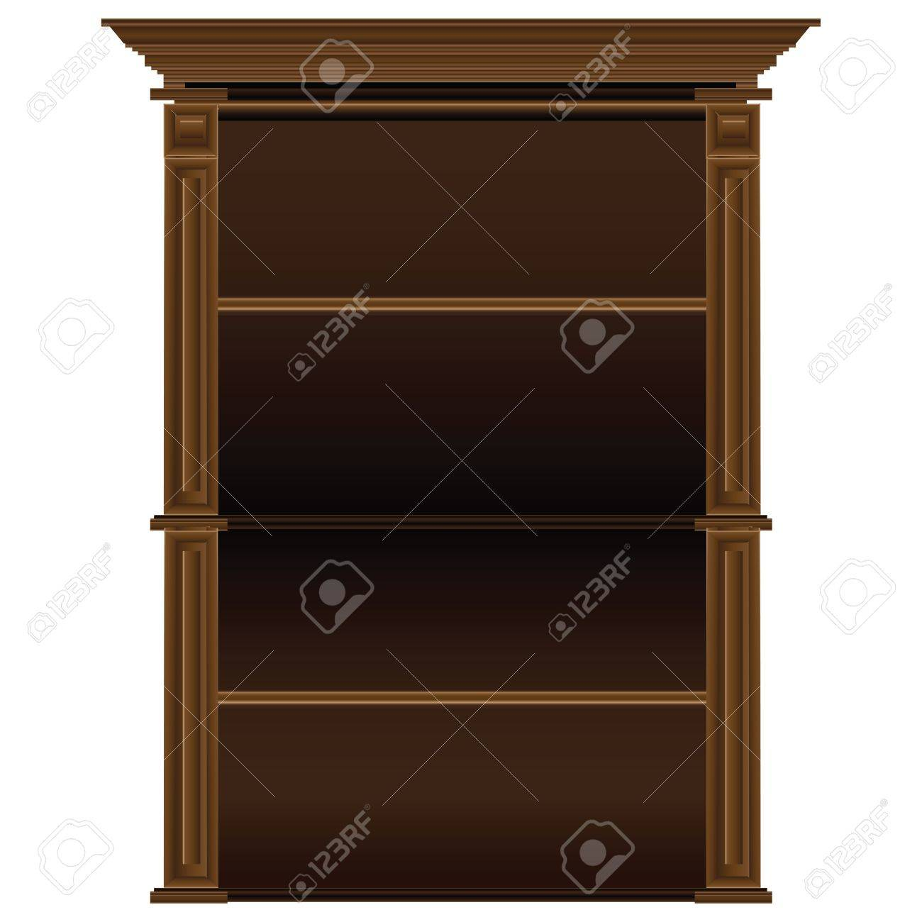 Old antique wooden shelves for dishes and books. Vector illustration. Stock Vector - 16875305