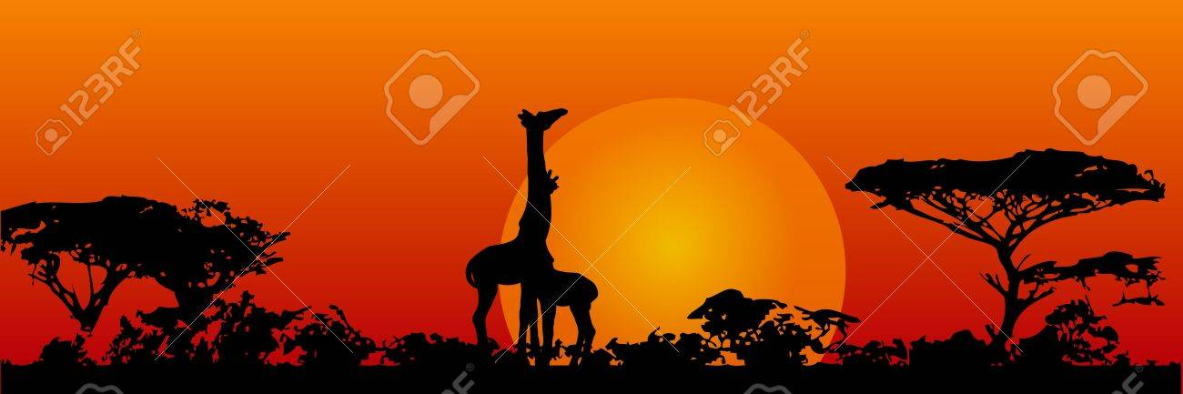 The nature of the savannah. Giraffes in the sun.  illustration. Stock Vector - 16980963