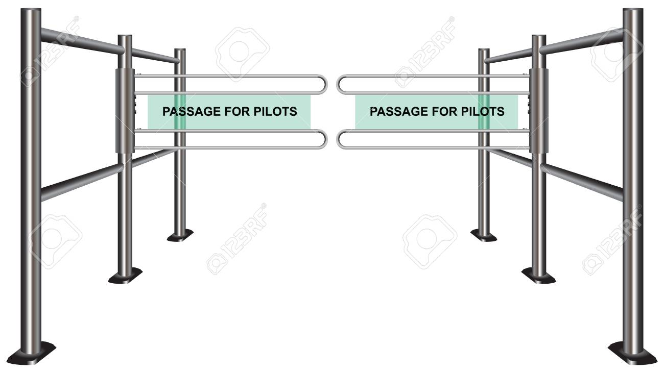 Turnstile at the airport. Passage for the pilots Stock Vector - 17061614