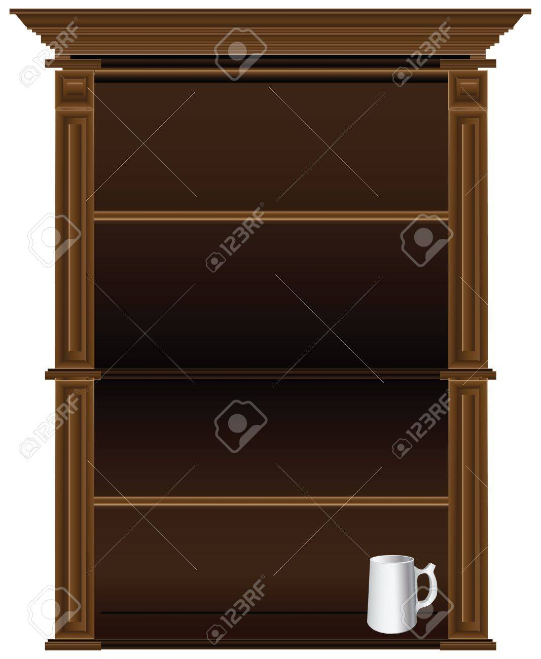 Antique Kitchen Cupboard In The Old Style. Stock Vector   17101915