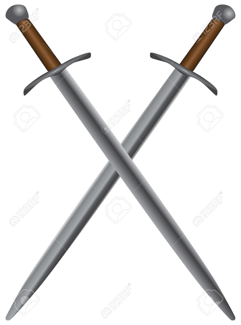 A set of double-edged swords medieval. Vector illustration. Stock Vector - 17223770