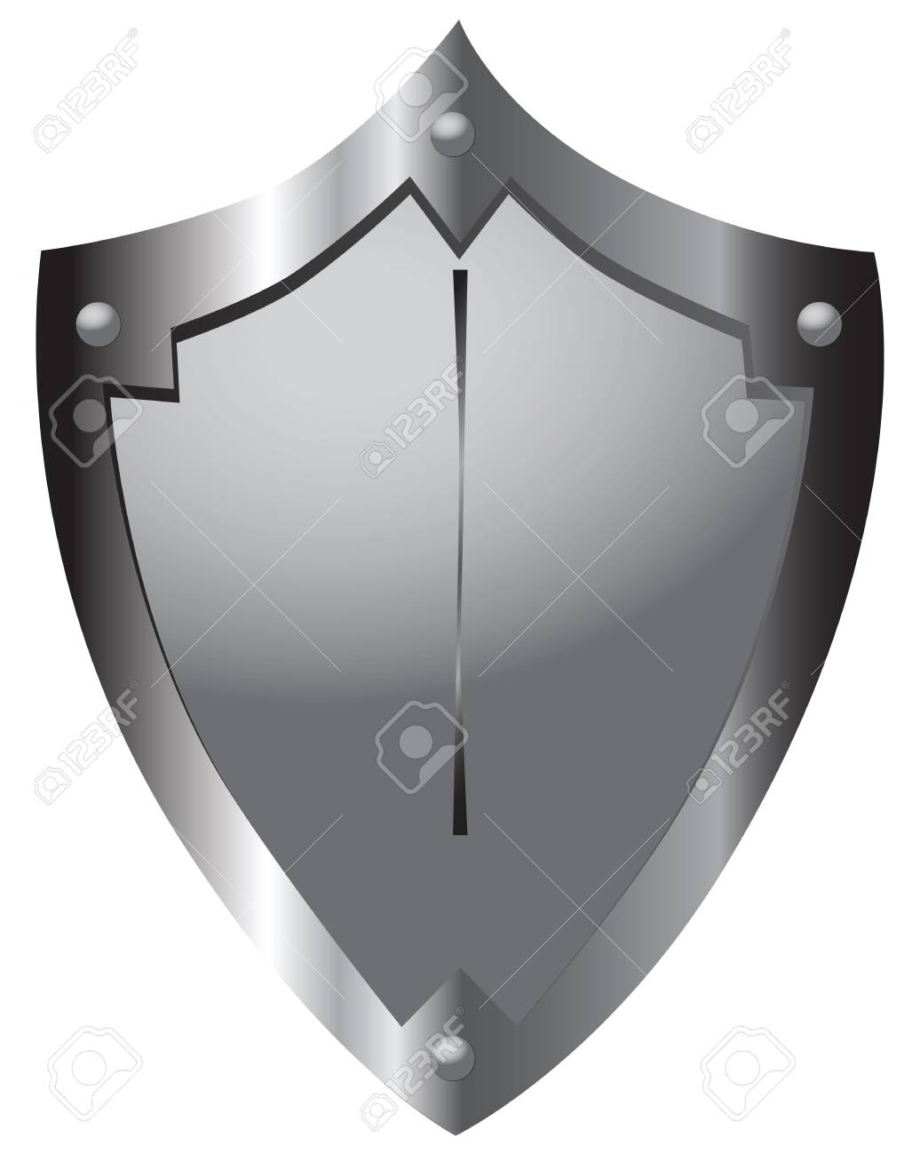 Steel Shield Medieval Warrior Heraldic Form. Vector Illustration ...
