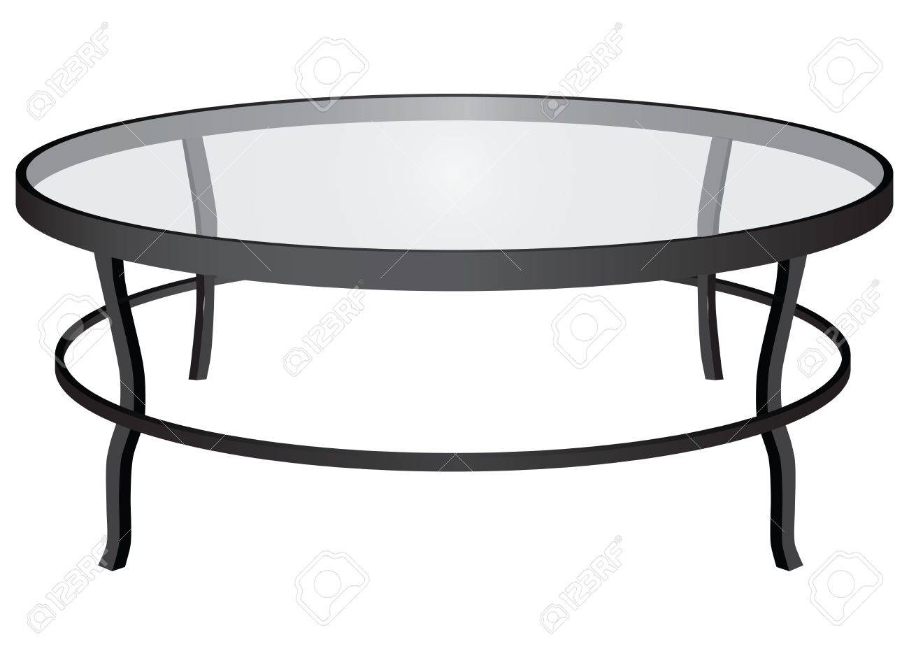 A Round Glass Coffee Table Interior Royalty Free Cliparts Vectors