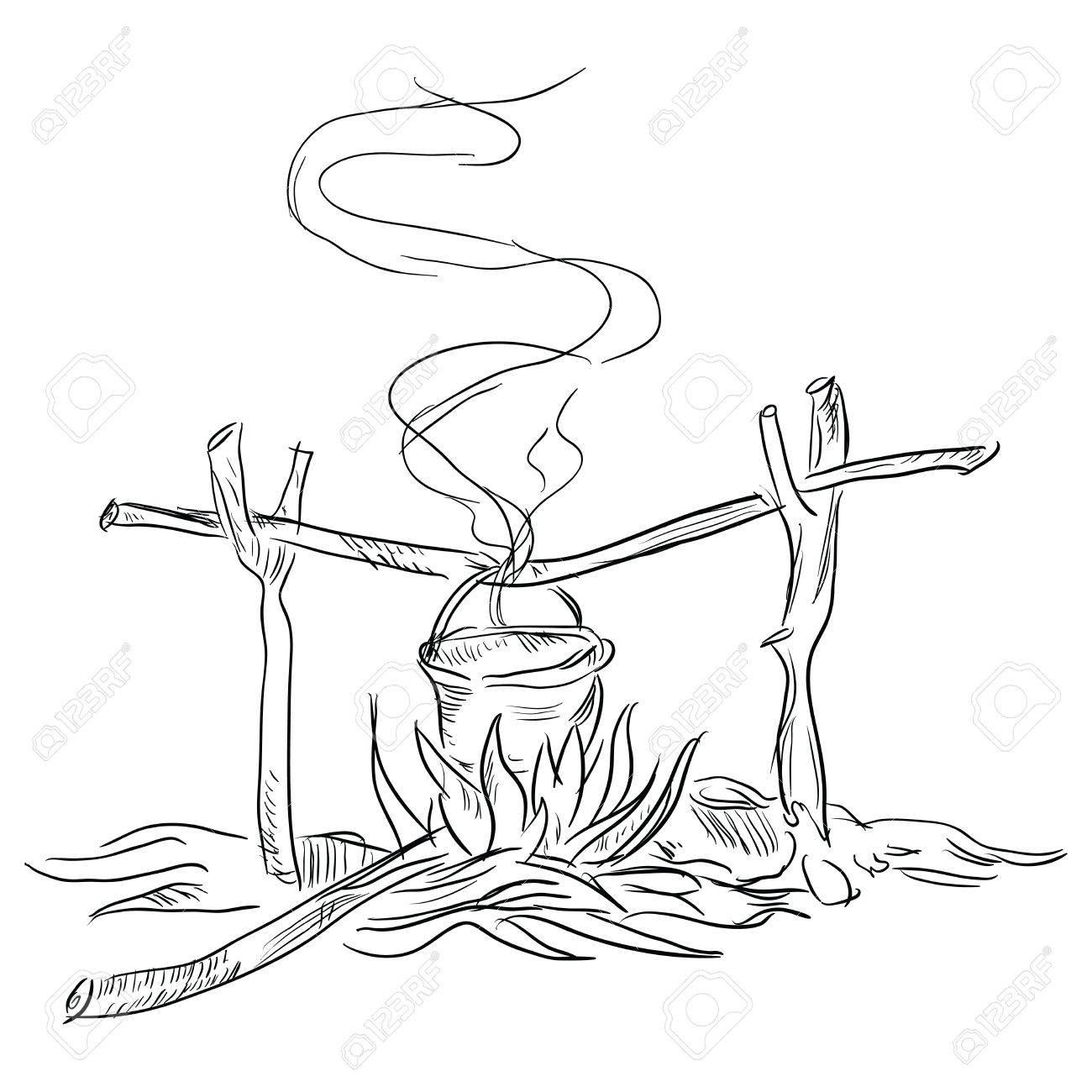 Pot Au Feu De Bois Dessin A La Main Vector Illustration Clip