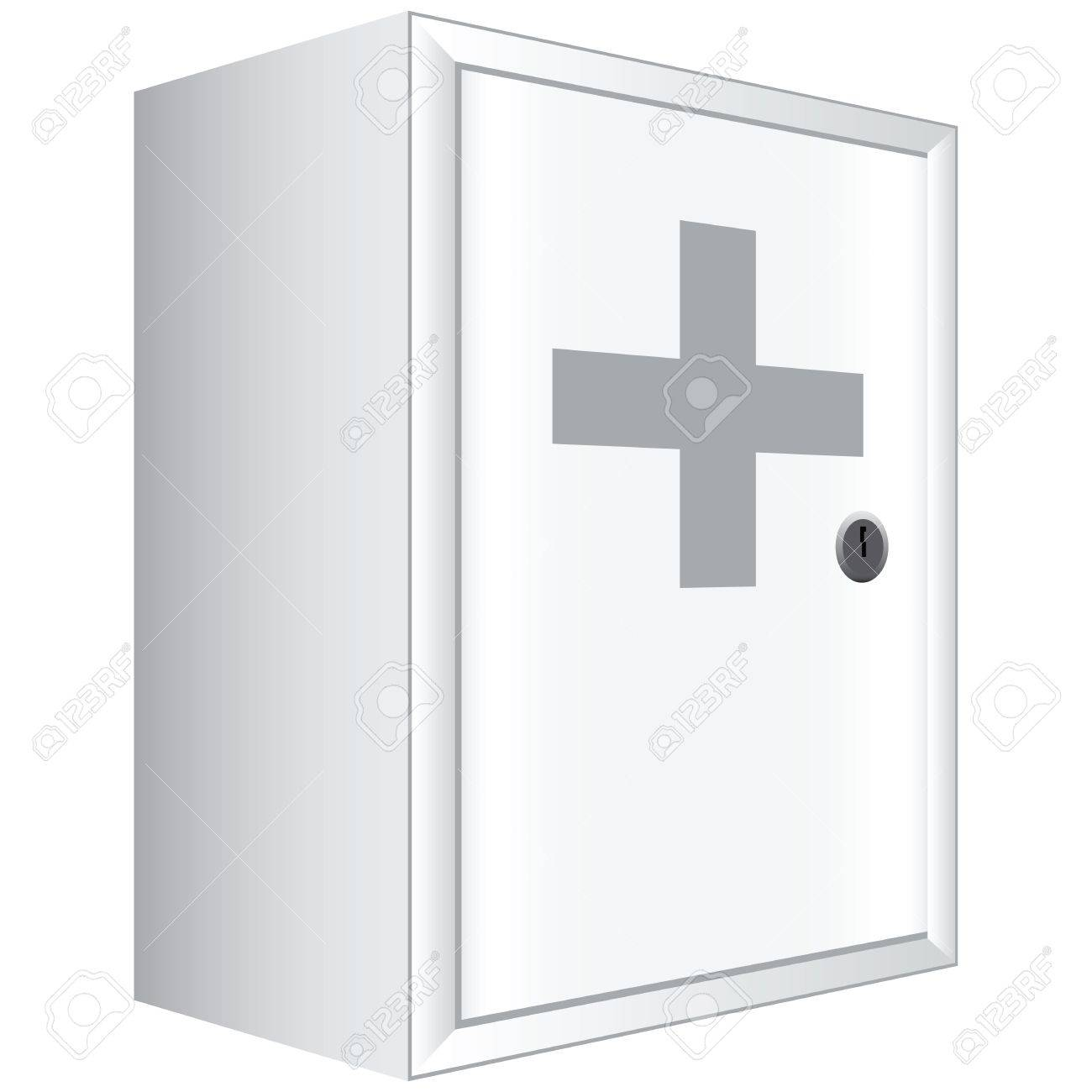 Office Lockable Cabinets Office First Aid Kit White Cabinet With Lockable Door Vector