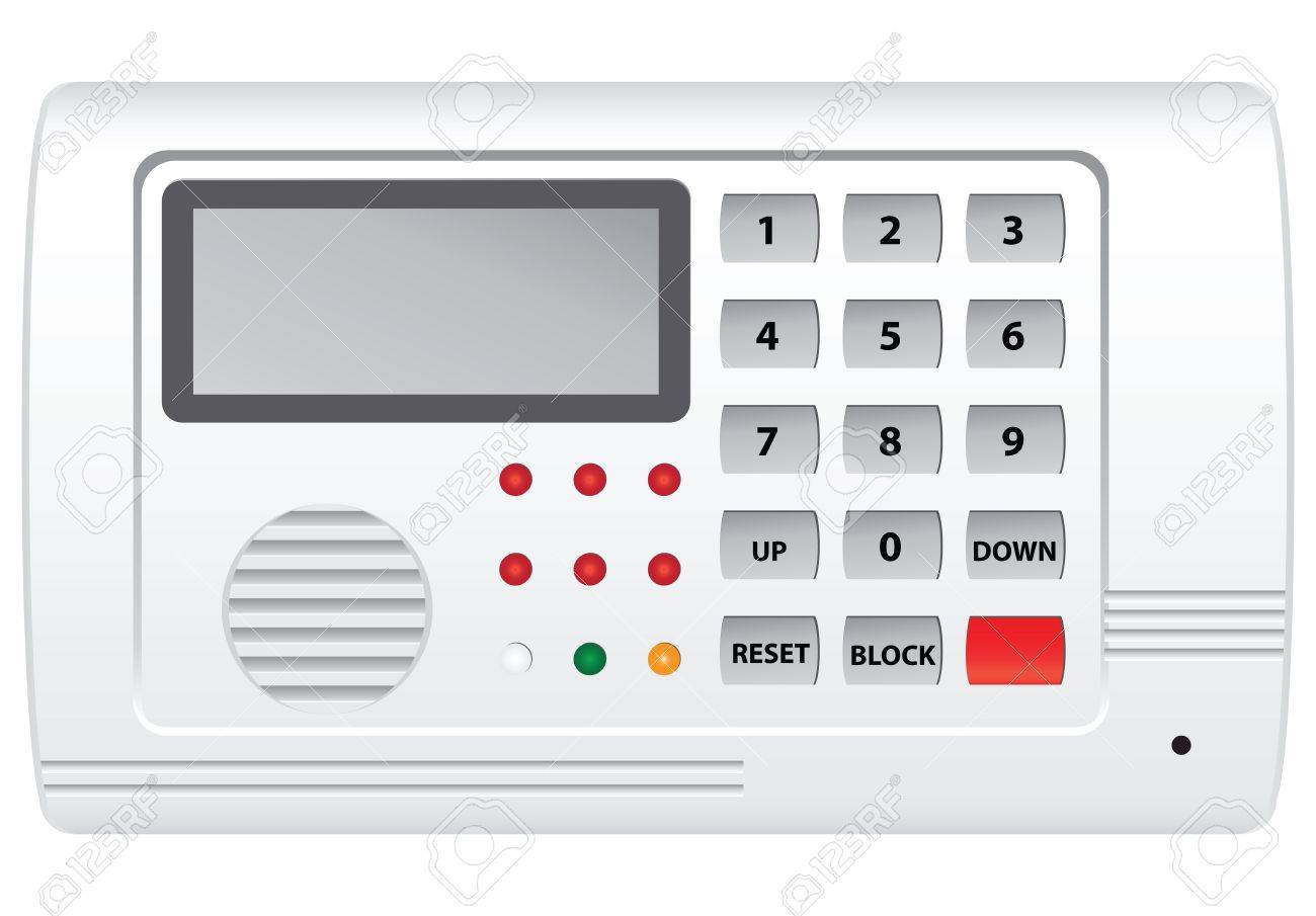 Security System Control Panel With Display. Vector Illustration ...