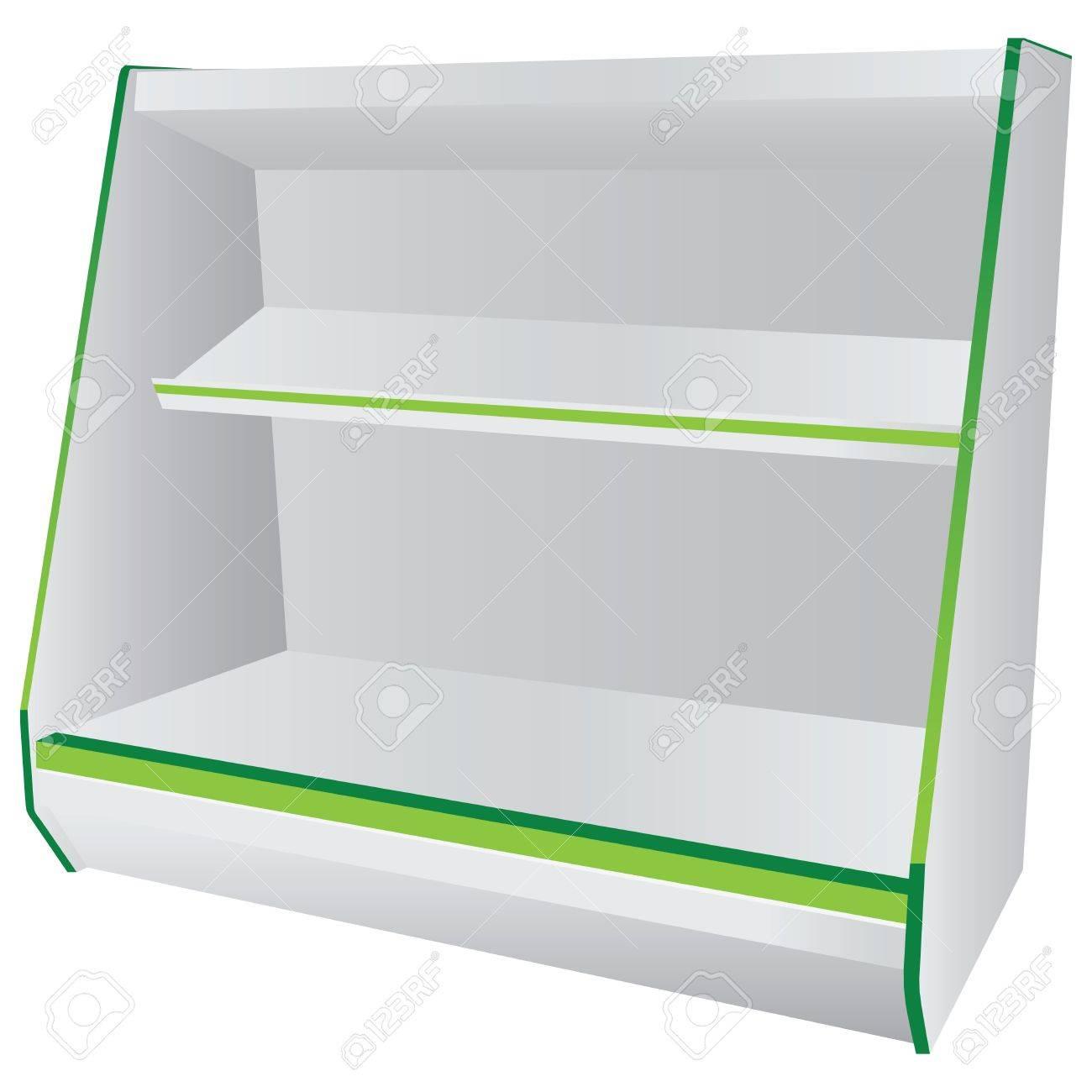 rayonnages avec étagères suspendues commerciale. vector illustration