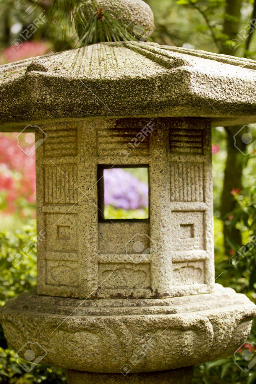 Japanese Stone Lamp - Decoration In The Garden. Stock Photo ... for Temple Stone Lamp  83fiz
