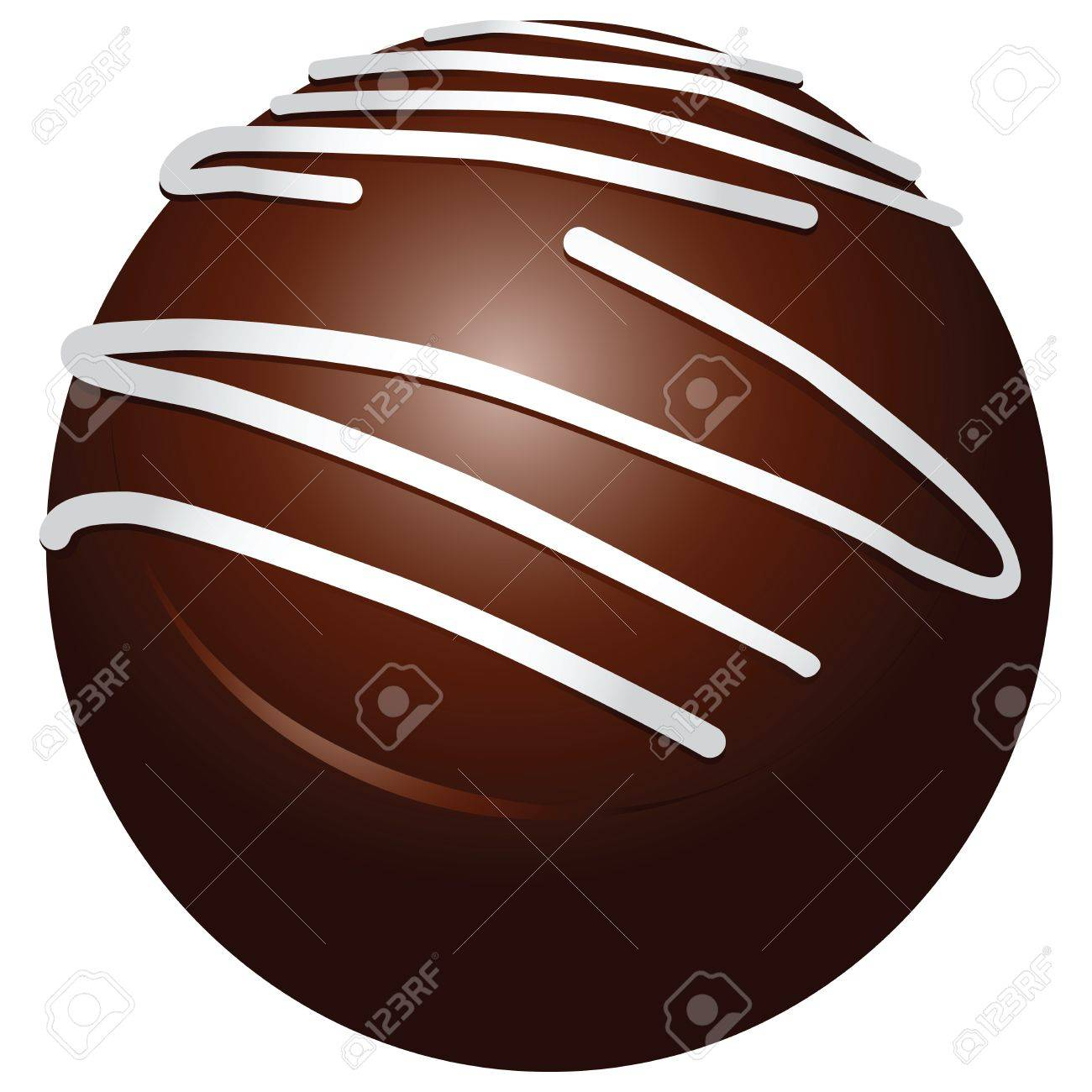 Chocolate candy round with white stripes. Stock Vector - 19562948