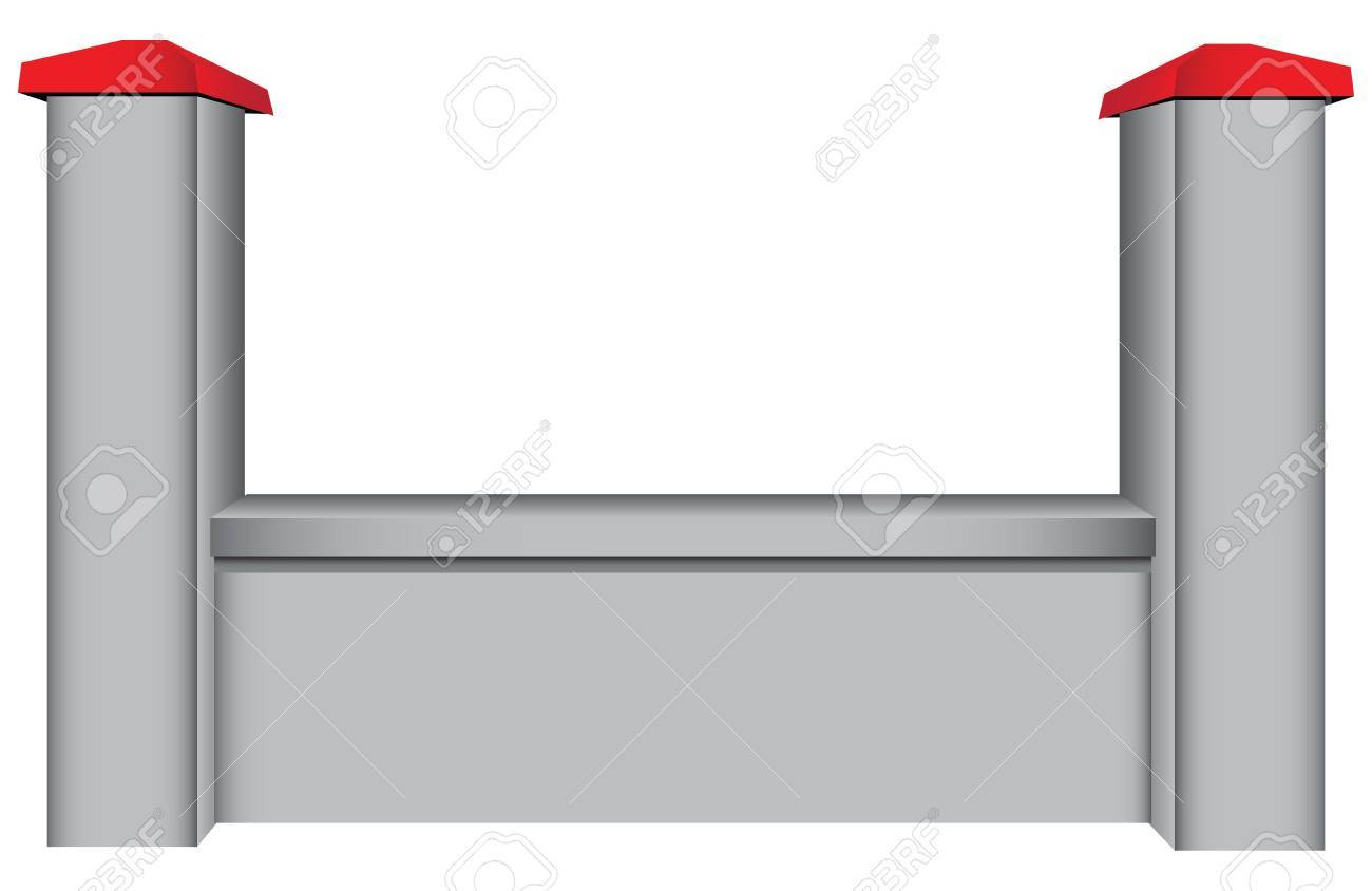 The segment of the concrete fence with two columns. Vector illustration. Stock Vector - 19731692