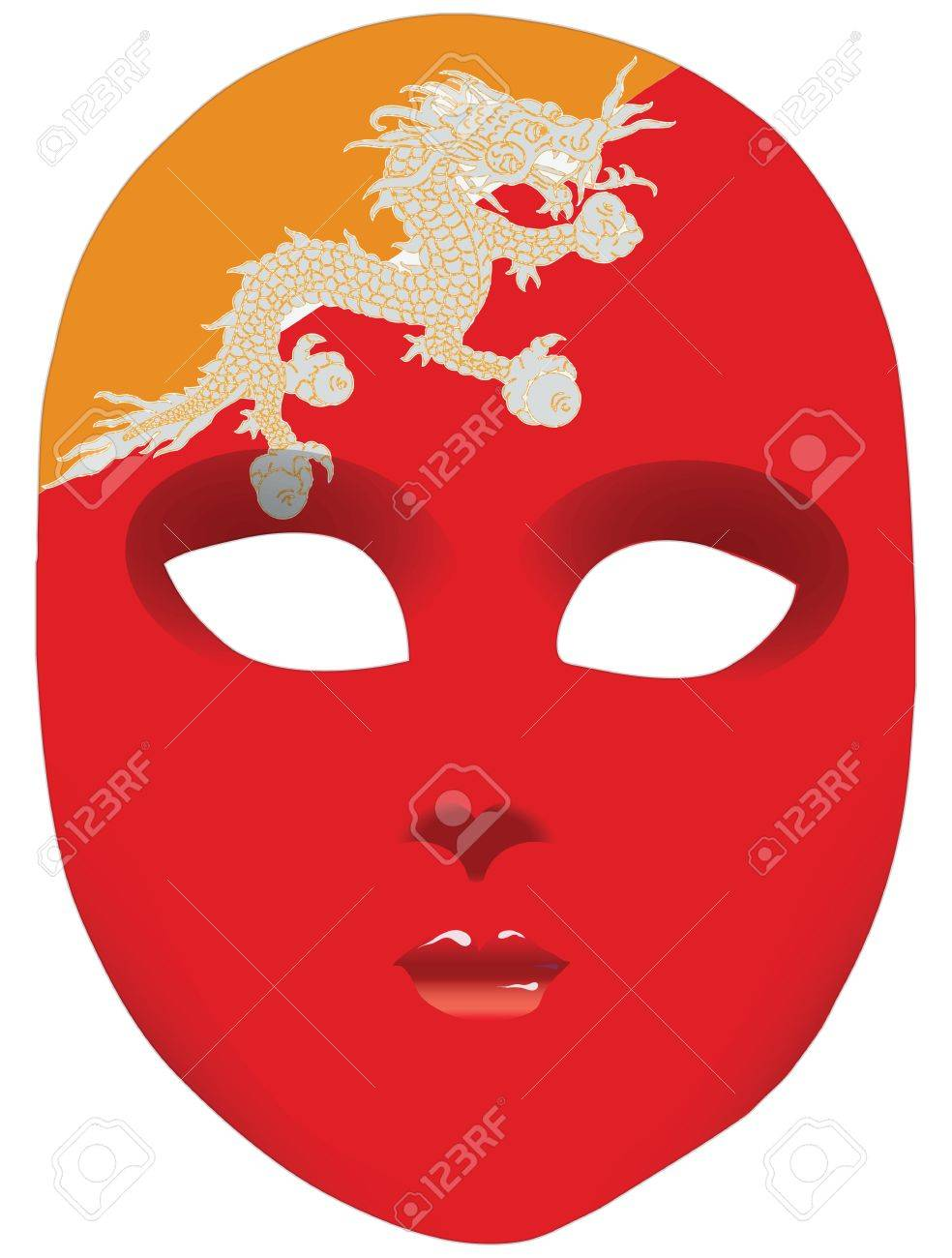 Classic Mask With Symbols Of Statehood Of Bhutan Royalty Free