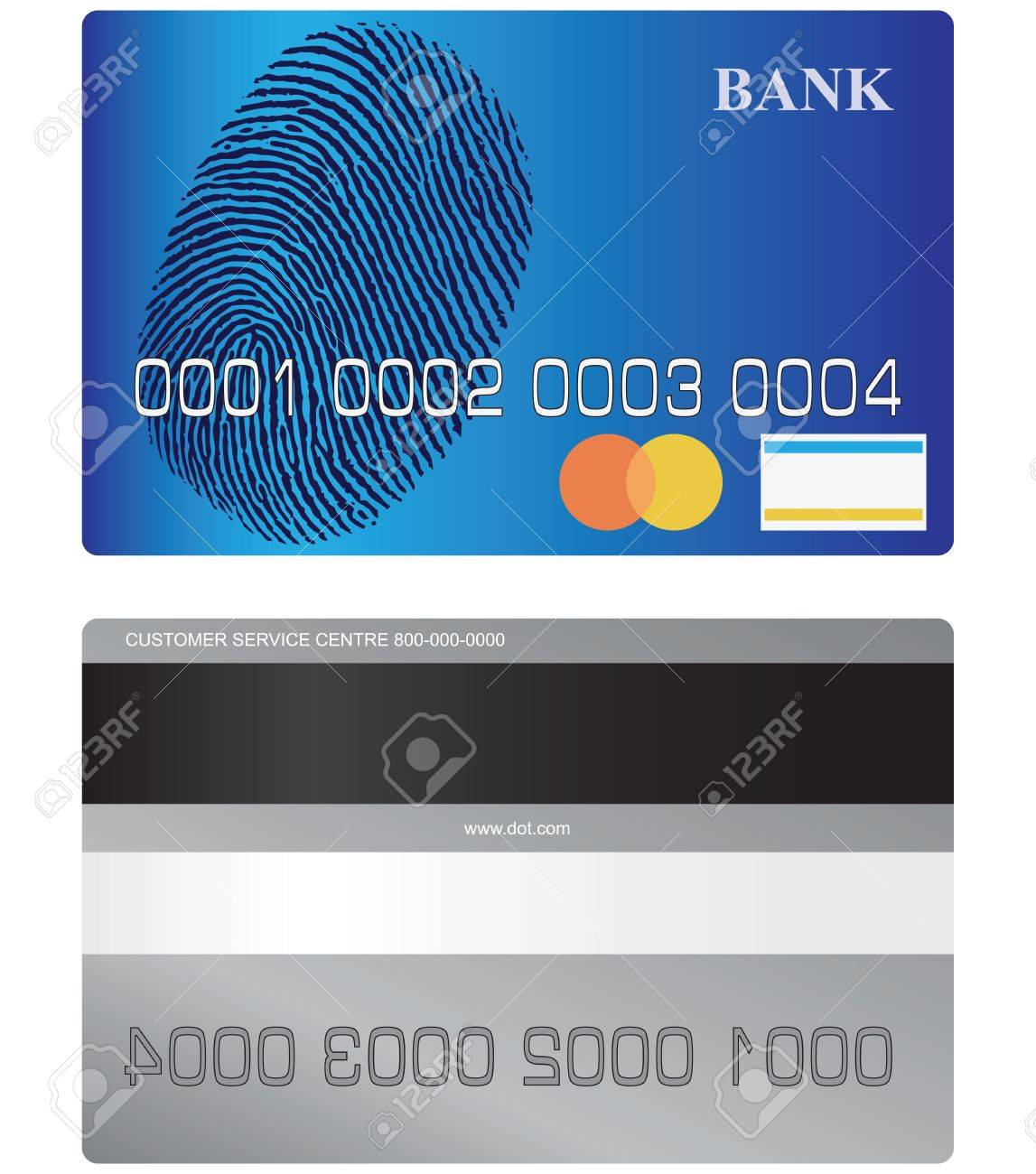 Bank card front side and turn with tape and a space for a signature. Vector illustration. Stock Vector - 21151621