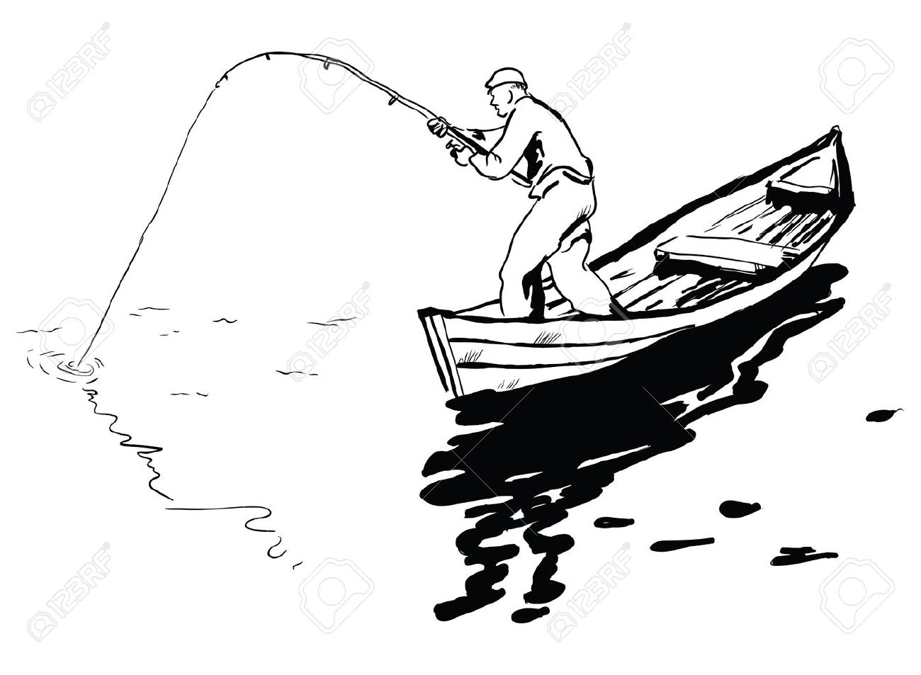 A fisherman in a boat fishing spinning reel. Vector illustration. Stock Vector - 21544278