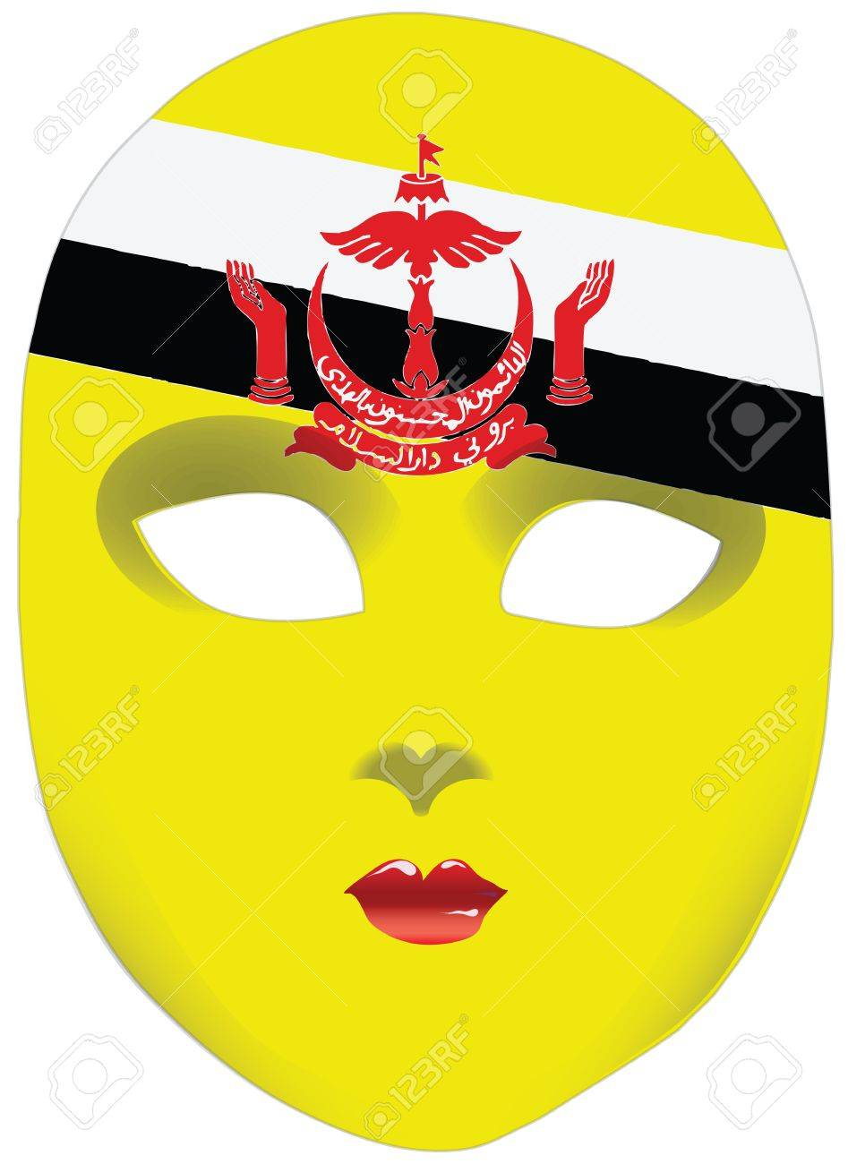 Classic Mask With Symbols Of Statehood Of Brunei Vector