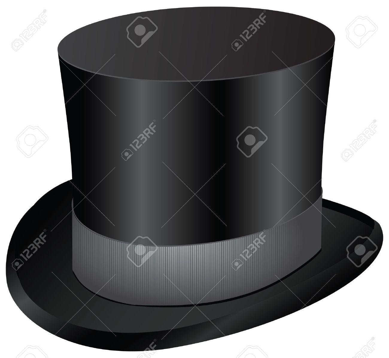 Foto de archivo - Vestido de los hombres Vintage - sombrero de copa negro.  Ilustración del vector. c9e415183337