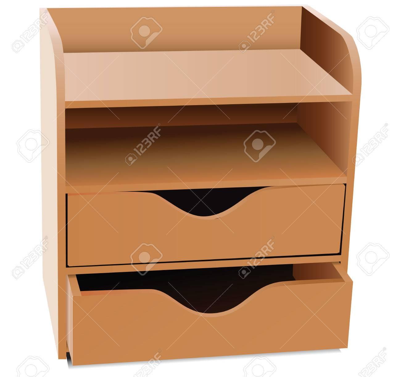 Office Shelves With Drawers Desk Organizer Vector Illustration