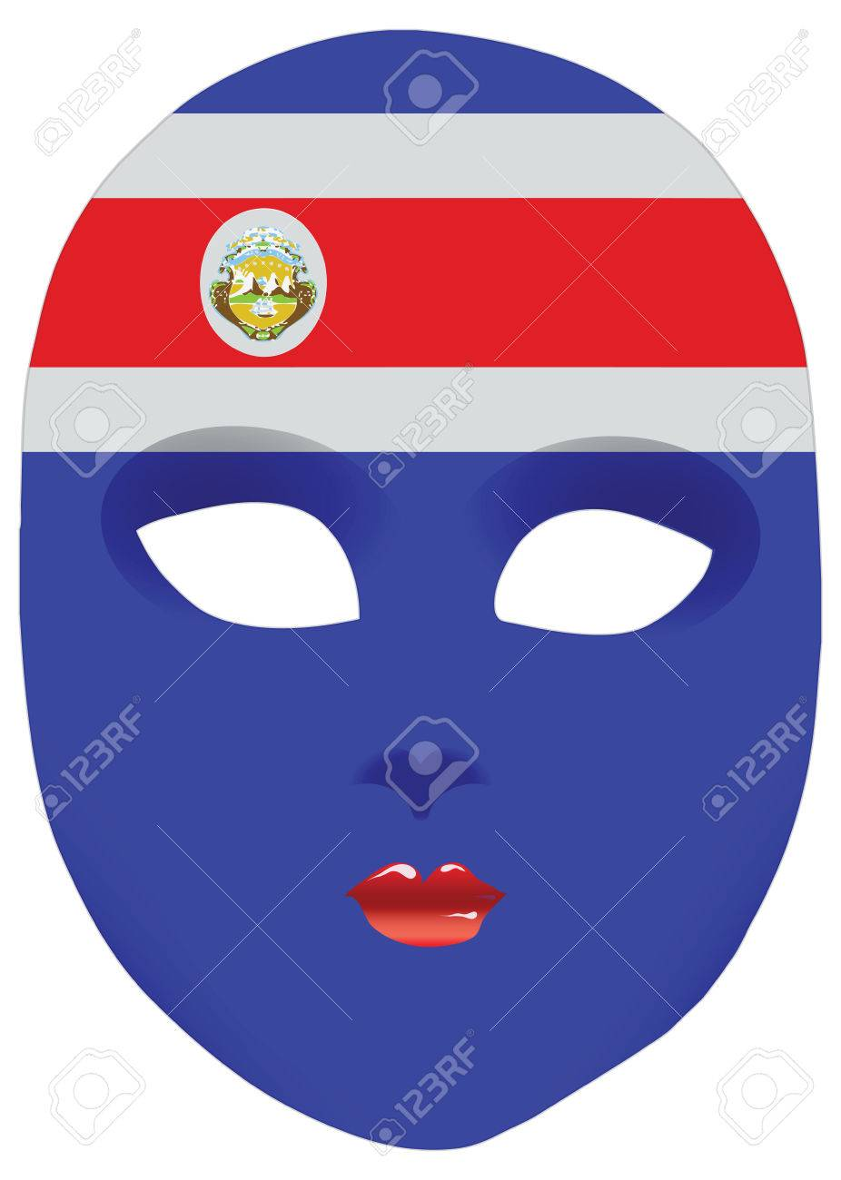 Classic Mask With Symbols Of Statehood Of Costa Rica Vector