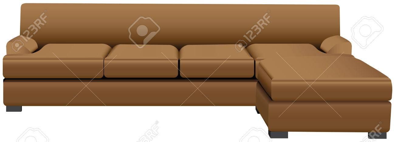 Sectional Sofa With Attached Leather Ottoman Vector Illustration
