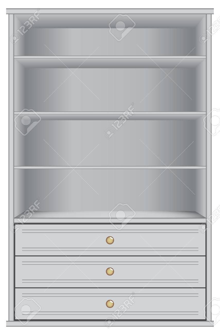 Meuble De Rangement Avec Tiroir.Blanc Armoire De Rangement Avec Quatre Etageres Et Trois Tiroirs Vector Illustration