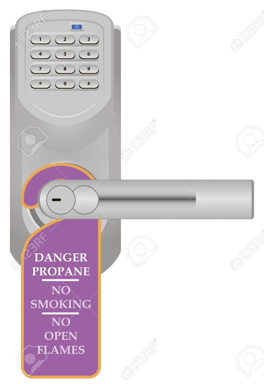 Warning Sign On The Door Handle With Combination Lock. Vector ...