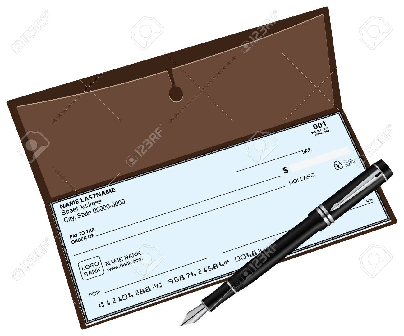 checkbook with a fountain pen vector illustration royalty free