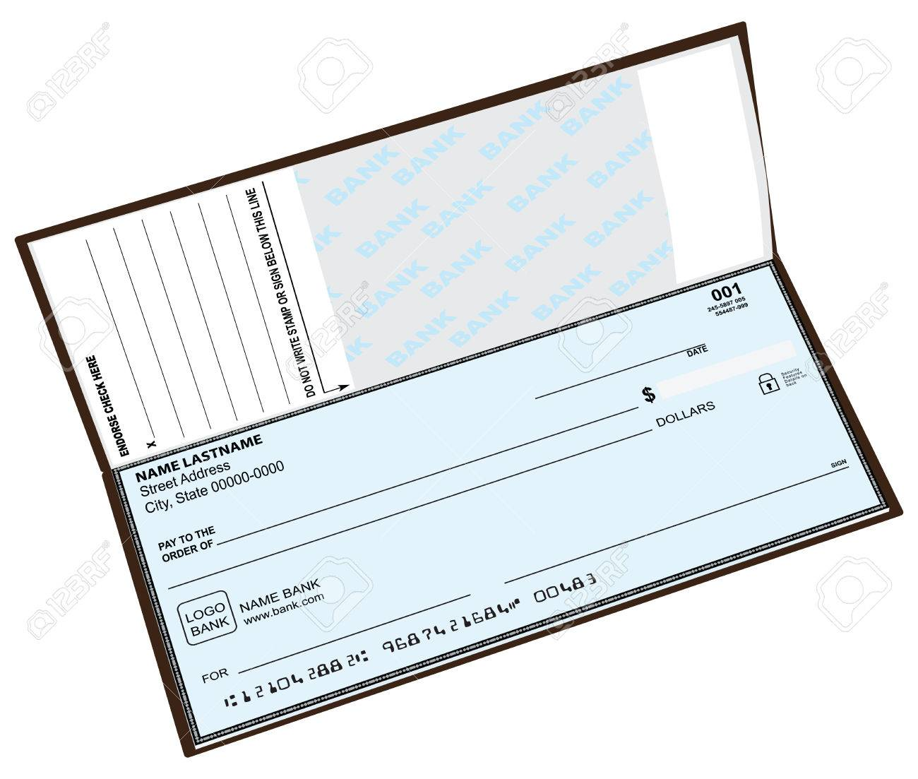 open checkbook with the previous check vector illustration royalty