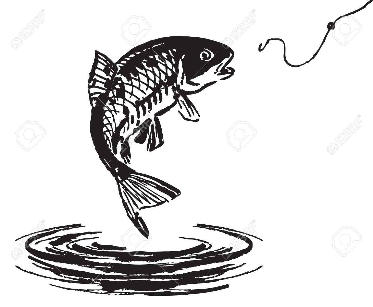 Fish Jumping Out Of The Water Vector Illustration Stock