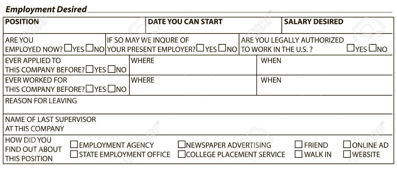 Formulario De Informacion Para Llenar Trabajador Trabajo Deseado Ilustracion Del Vector