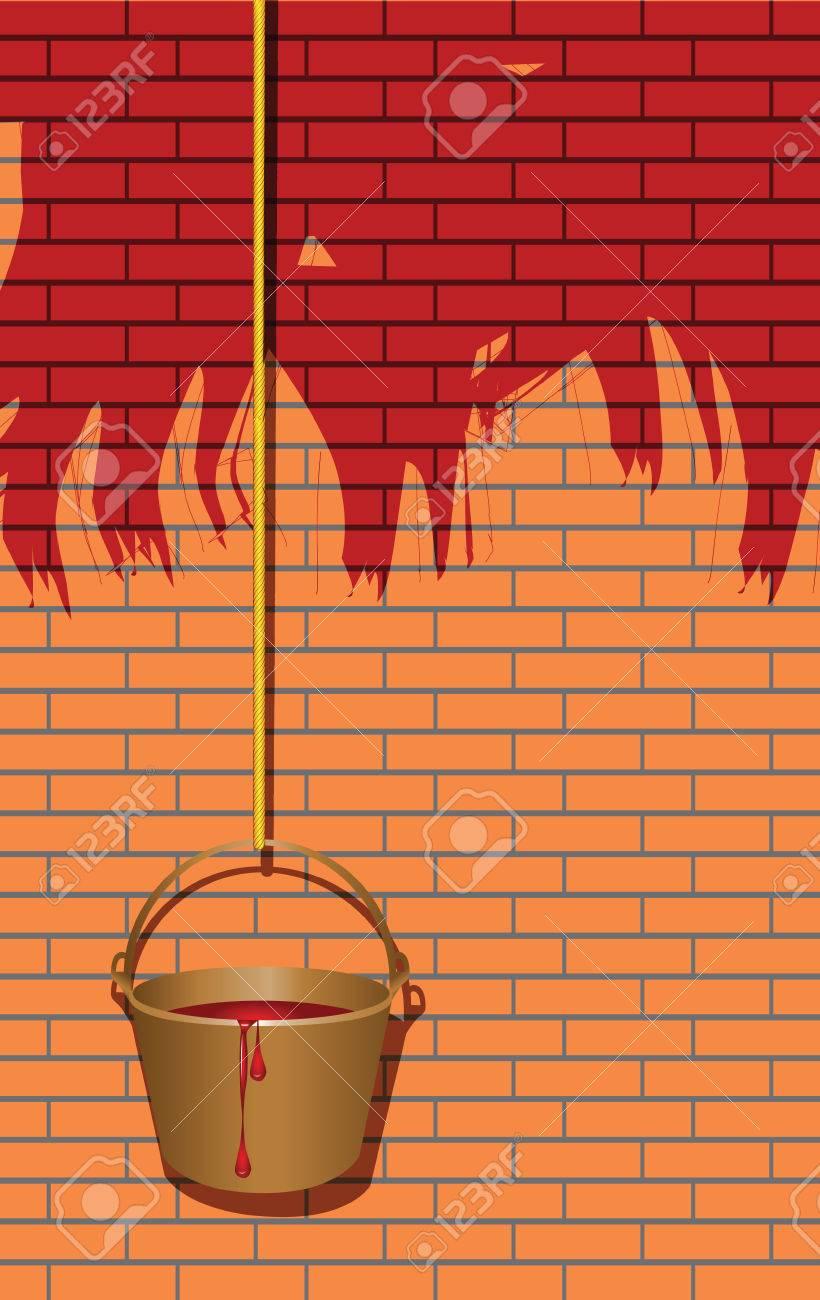 Eimer Farbe Auf Dem Seil, Das Streichen Der Wände Rot. Vektor Illustration.