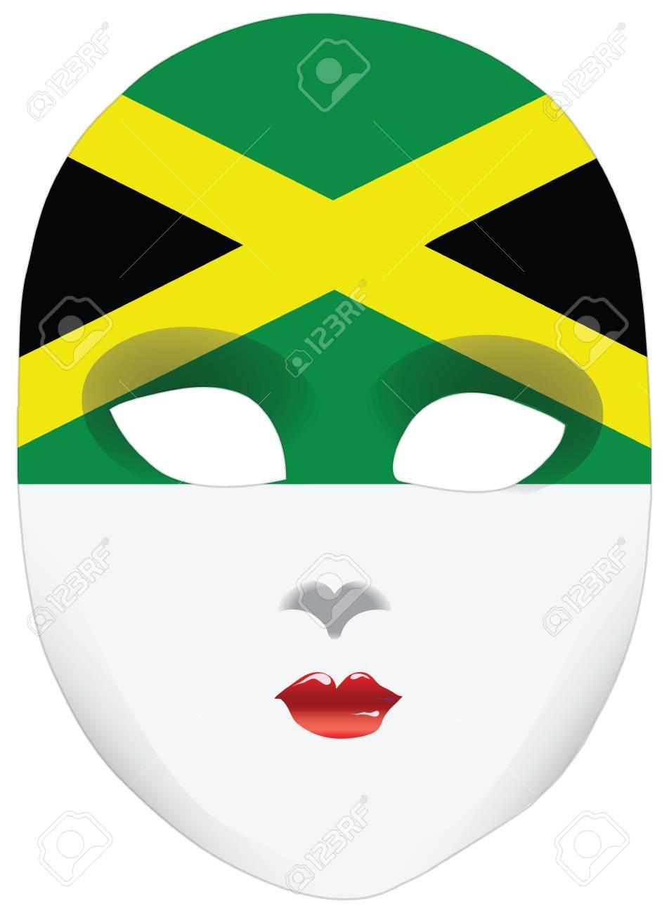 Classic Mask With Symbols Of Statehood Of Jamaica Illustration