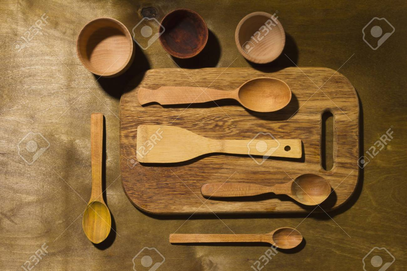 Wooden Kitchen Accessories On A Wooden Table Stock Photo Picture And Royalty Free Image Image 96129482