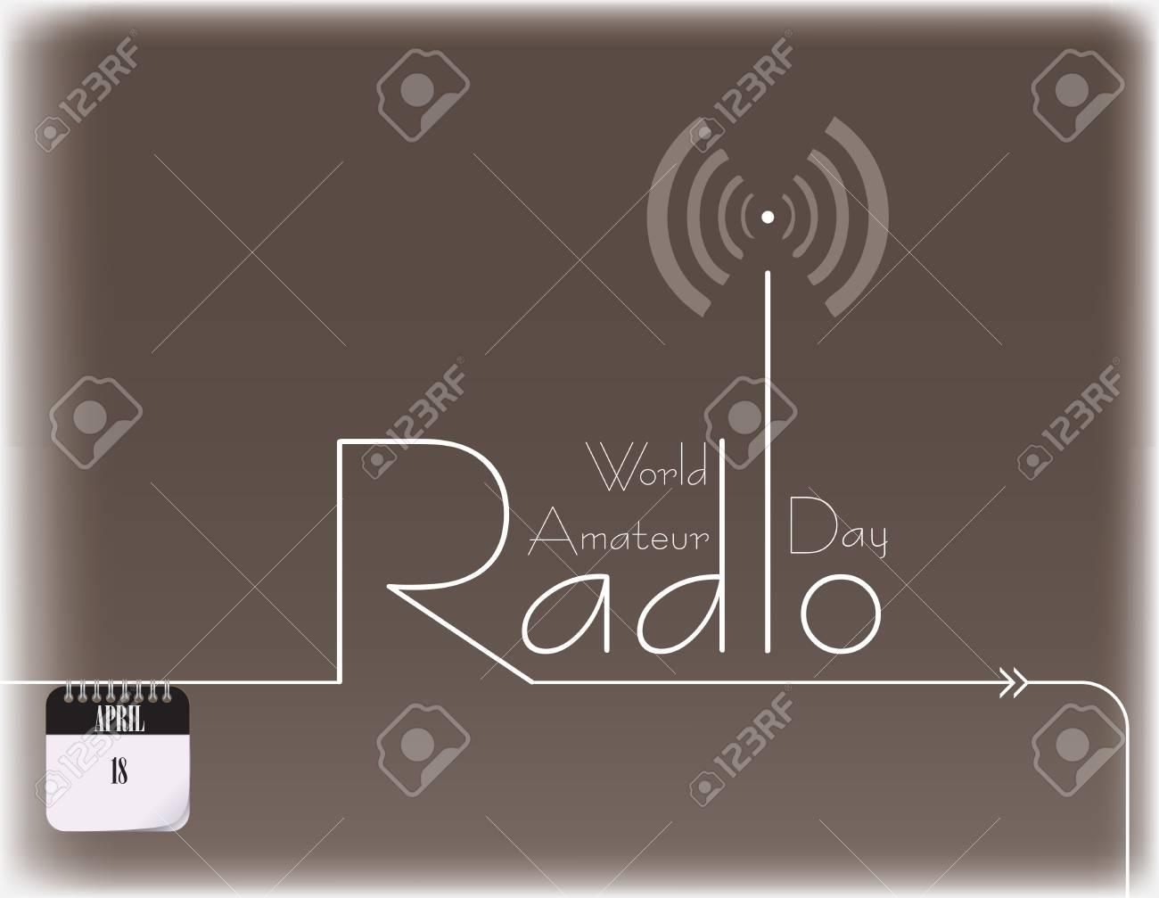 Poster for World Amateur Radio Day - april 18 Vector illustration. - 97622343