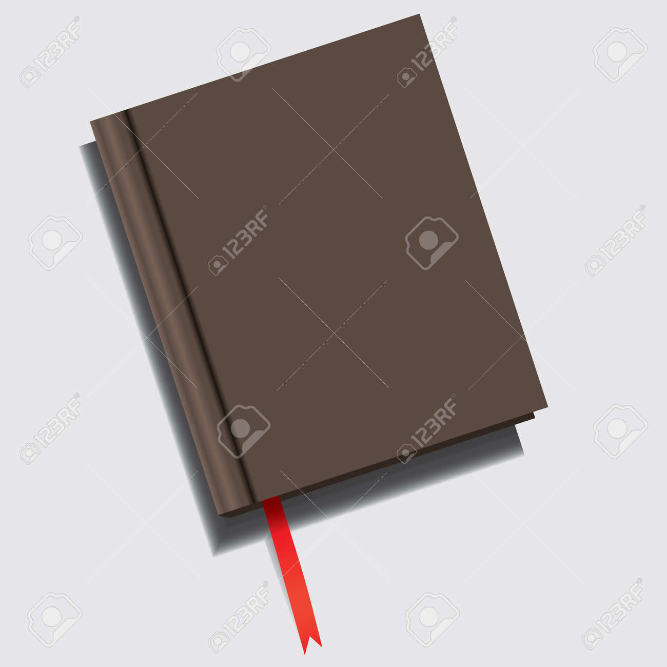 Closed book with a red ribbon-shaped bookmark - 169061383