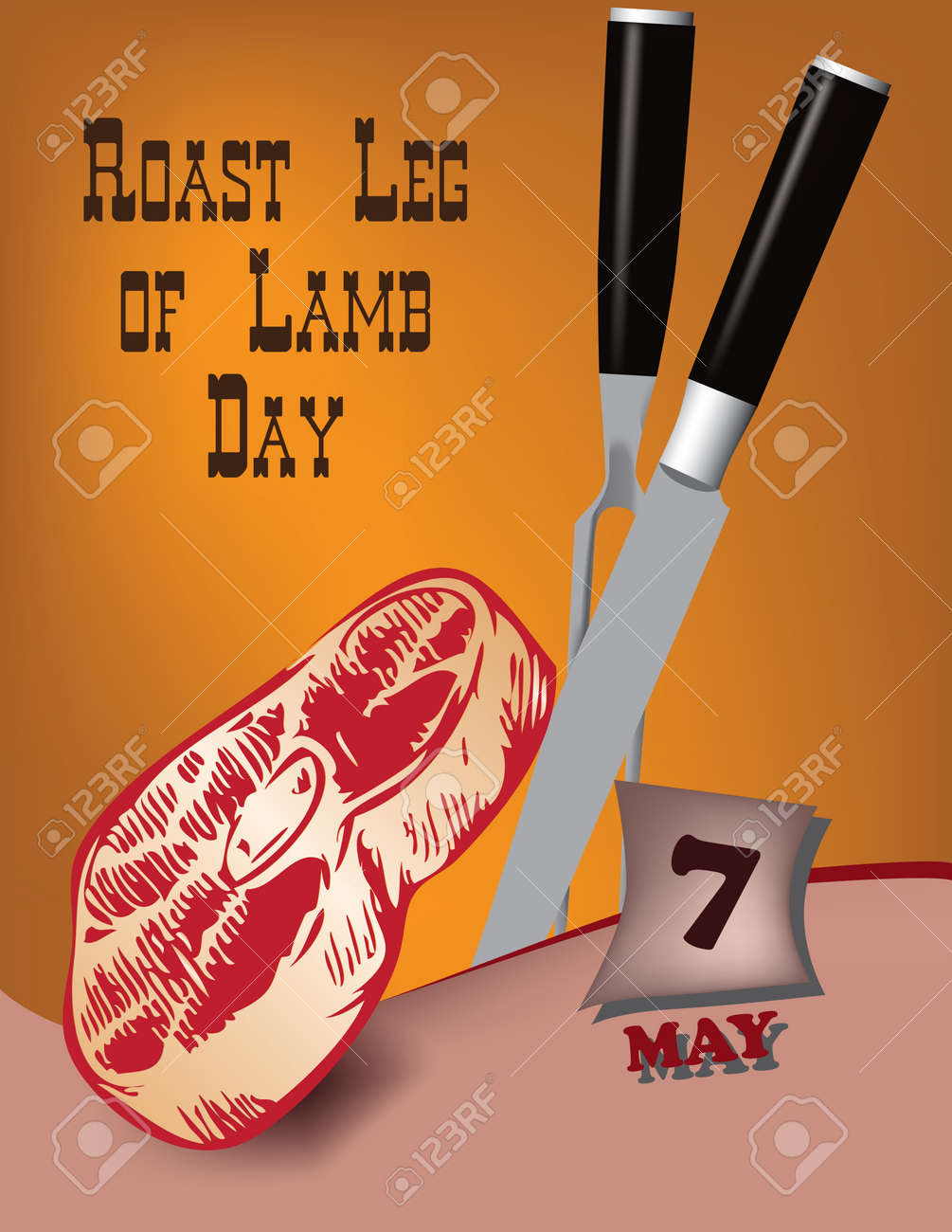 Poster Roast Leg of Lamb Day.Vector illustration for a holiday date in may - 168987755