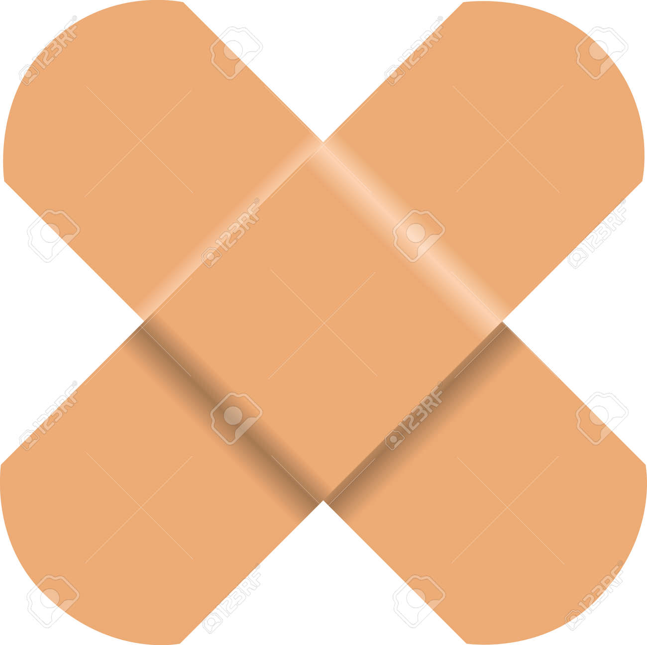Used medical adhesive plaster in a common used form - a cross. - 169441826