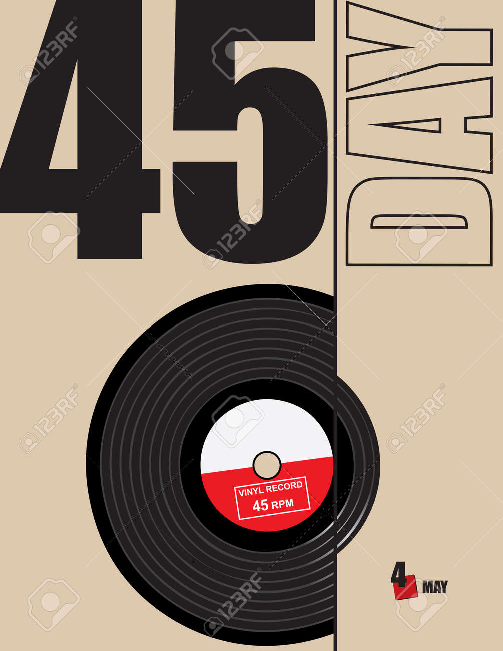 Poster for the celebration of 45 Day - 45 rpm vinyl record. Vector illustration. - 169441836
