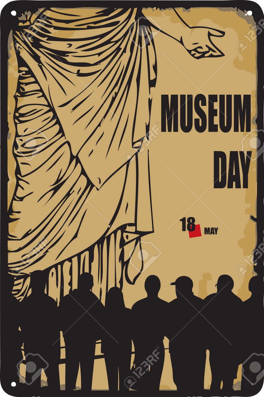 Old vintage sign to the date - Museum Day. Vector illustration for the holiday and event in may. - 169676011