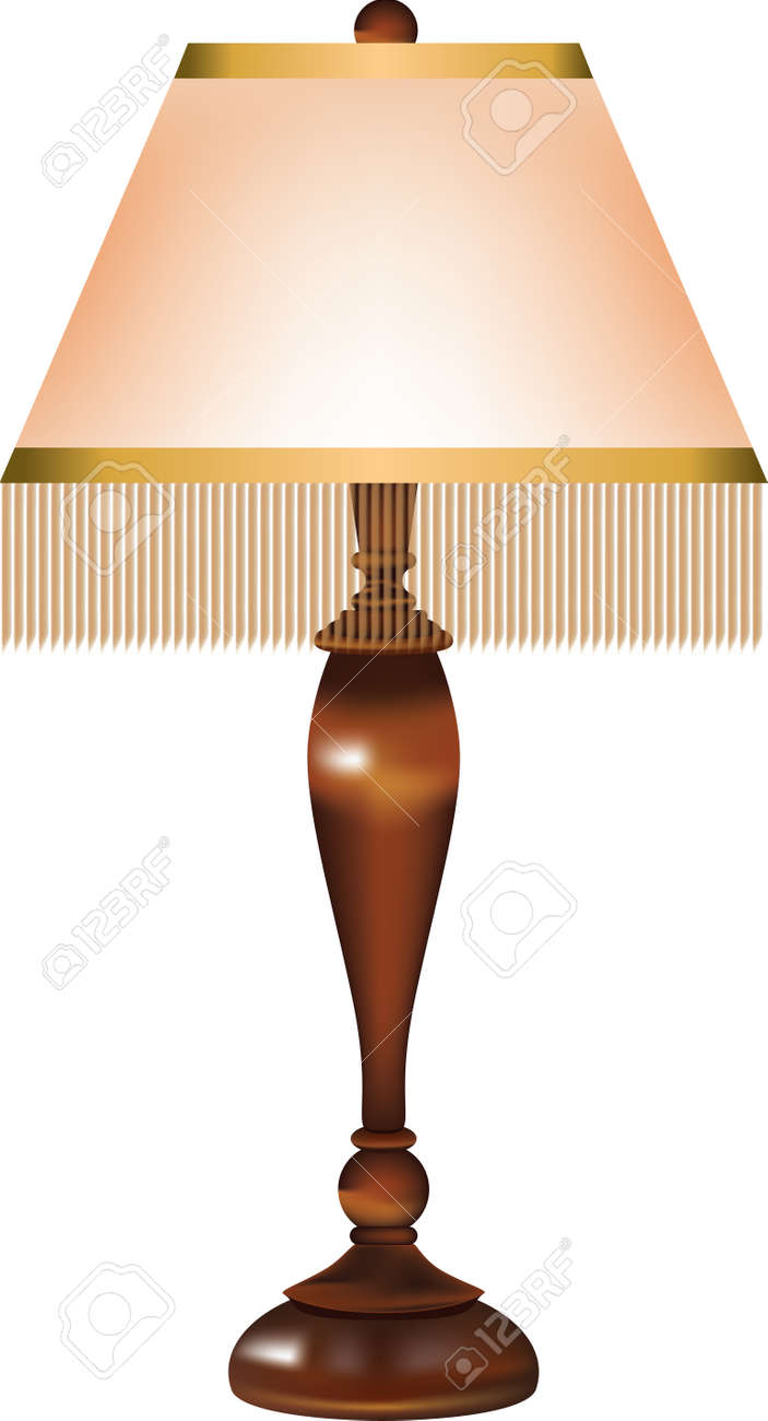 Table lamp with a retro fabric shade and threads around the edge of the shade and a wooden stand. - 169674085