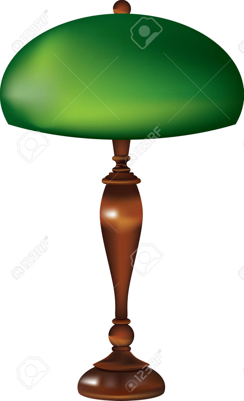 Retro table lamp with glass green shade and wooden stand. - 169674097
