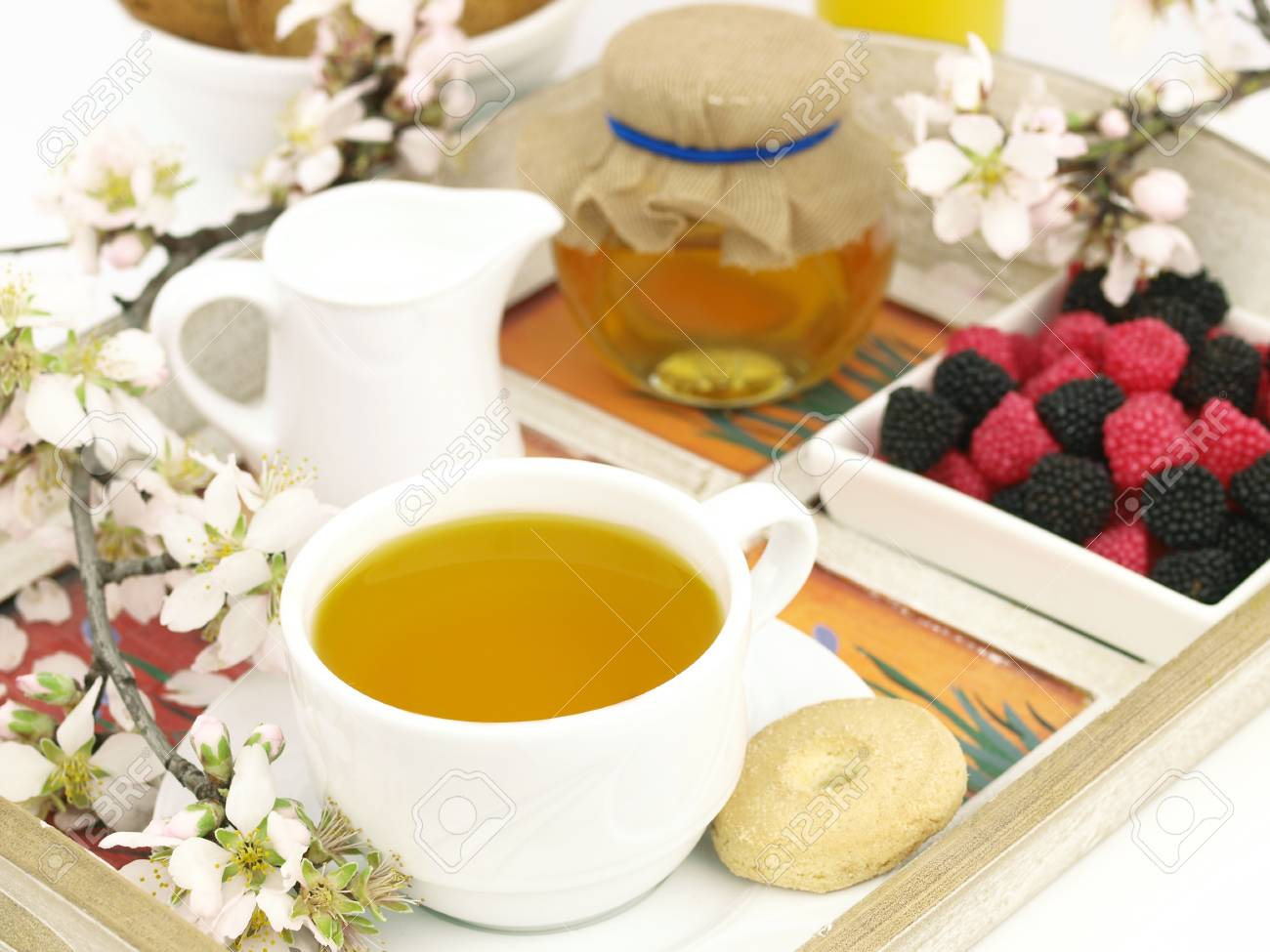 Healthy breakfast set on a wooden tray Stock Photo - 9102760