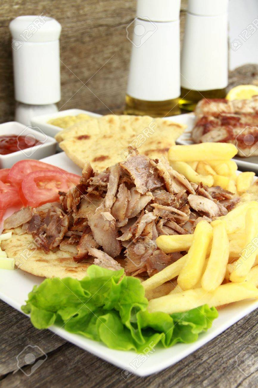 Plate Of Traditional Greek Gyros Or Turkish Kebab With Meat Stock Photo Picture And Royalty Free Image Image 9421918