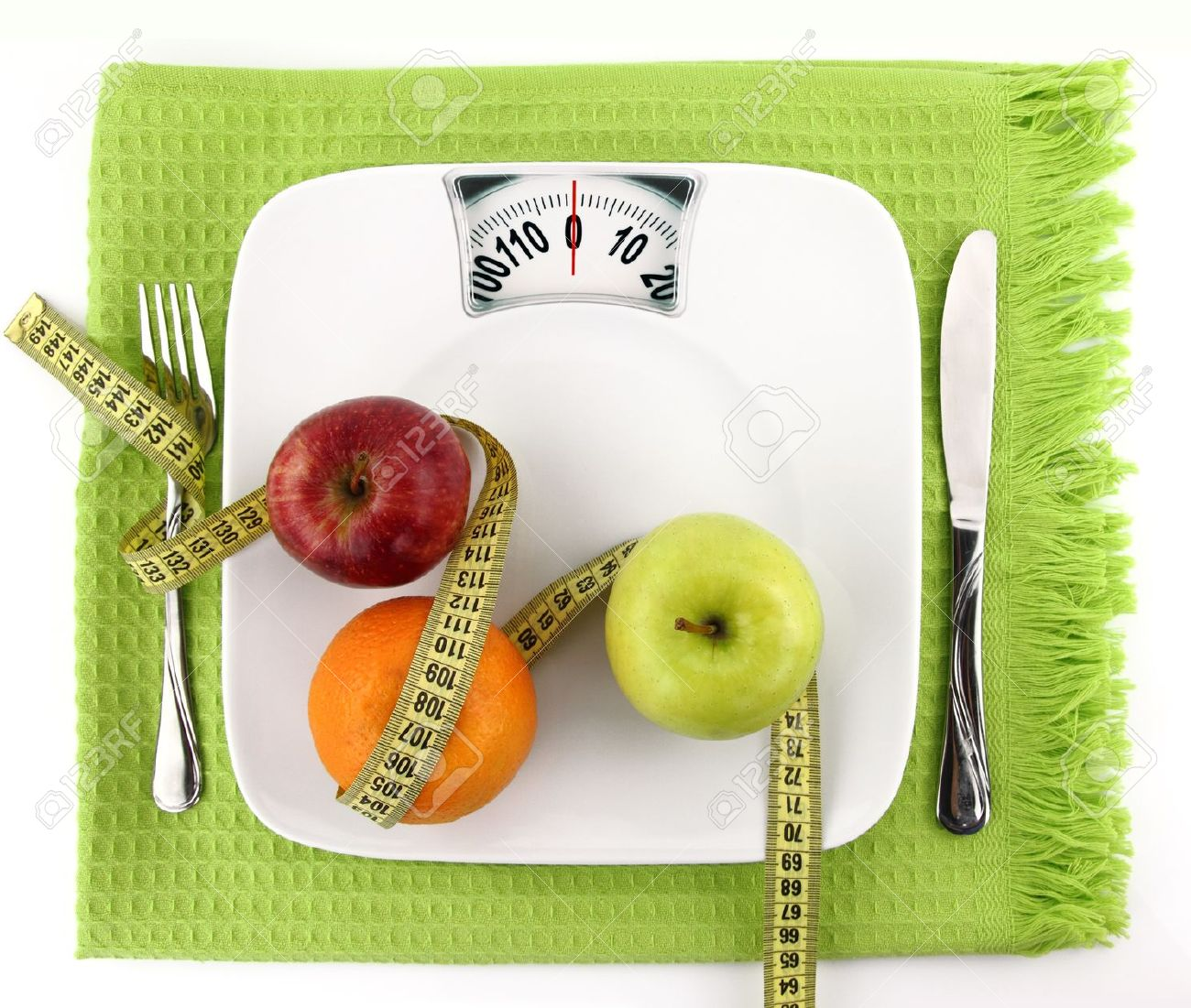 9611857 Diet concept Fruits with measuring tape on a plate like weight scale Stock Photo - 55 weeks to fabulous - week 1