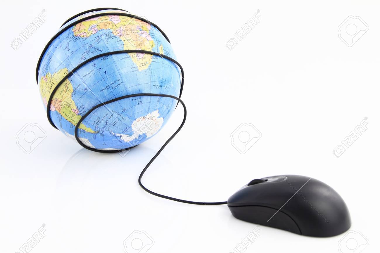 Computer mouse wraps the world globe Stock Photo - 9611511